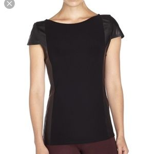 Alice + Olivia Black Leather Trim Sleek Chic Top